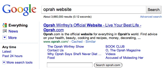 google sitelinks for oprah.com