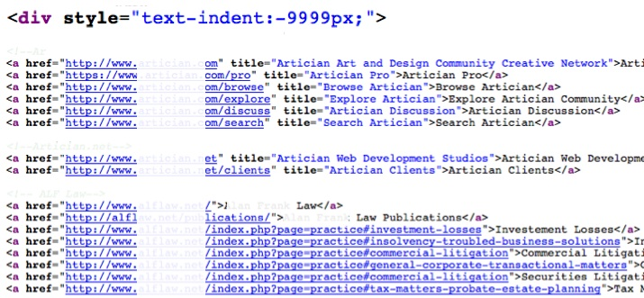 hidden links using text-indent